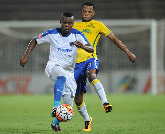Andile Mbenyane of Chippa United is challenged by Mzikayise Mashaba of Mamelodi Sundowns  during the Absa Premiership match between Mamelodi Sundowns and Chippa United on 02 February 2016 at Lucas Moripe Stadium  Pic Sydney Mahlangu/ BackpagePix