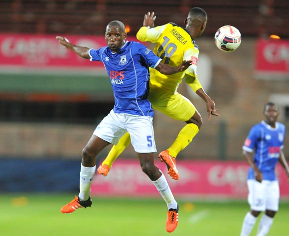 Thanduyise Khuboni of Black Aces challenged by Tebogo Makobela of Jomo Cosmos during the Absa Premiership match between Jomo Cosmos and Black Aces at the Olen Park Stadium in Pochestroom, South Africa on February 02, 2016 ©Samuel Shivambu/BackpagePix