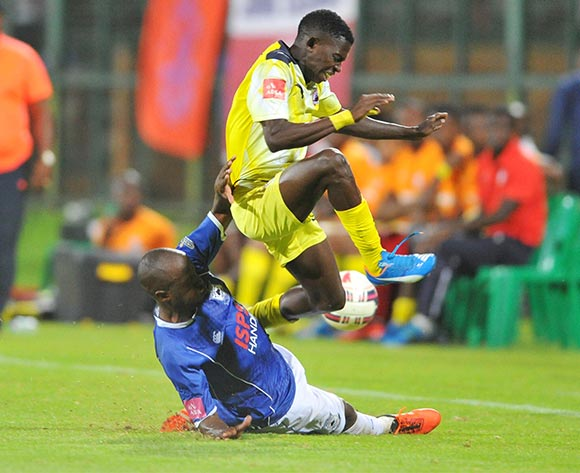 Vincent Kobola of Black Aces tackled by Micium Mhone of Jomo Cosmos during the Absa Premiership match between Jomo Cosmos and Black Aces at the Olen Park Stadium in Pochestroom, South Africa on February 02, 2016 ©Samuel Shivambu/BackpagePix
