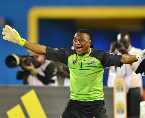 Ley Matampi of DR Congo celebrates after saving kick during penalty shootout in the 2016 CHAN semifinal football match between DR Congo and Guinea at the Amahoro Stadium in Kigali, Rwanda on 03 February 2016 ©Gavin Barker/BackpagePix