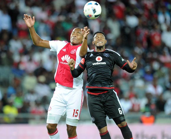 Thandani Ntshumayelo of Orlando Pirates challenges Prince Nxumalo of Ajax Cape Town during the Absa Premiership match between Orlando Pirates and Ajax Cape Town  on 03 February 2016 at Orlando Stadium Pic Sydney Mahlangu/ BackpagePix