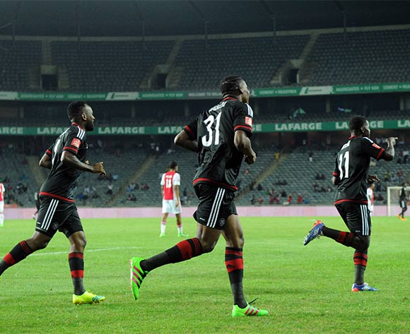 Sifiso Myeni of Orlando Pirates (r) celebrates the second goal with teammates during the Absa Premiership match between Orlando Pirates and Ajax Cape Town  on 03 February 2016 at Orlando Stadium Pic Sydney Mahlangu/ BackpagePix