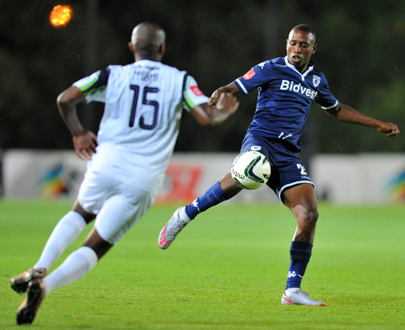 Siyabonga Nhlapho of Bidvest Wits challenged by Sibusiso Msomi of Platinum Stars during the Absa Premiership match between Bidvest Wits and Platinum Stars at the Bidvest Stadium in Johannesburg, South Africa on February 03, 2016 ©Samuel Shivambu/BackpagePix