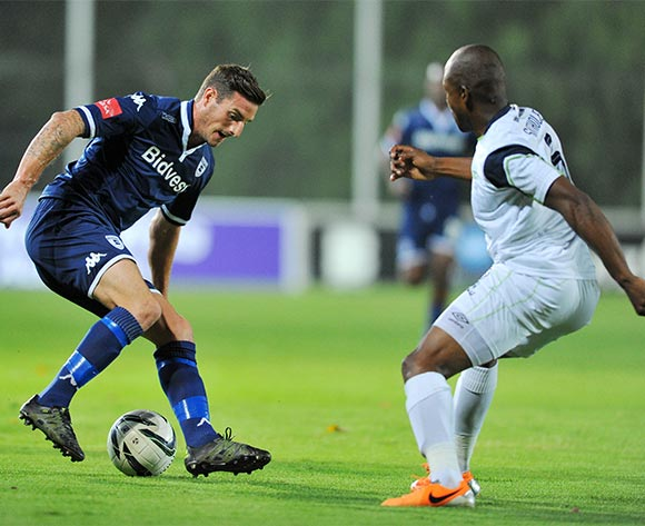 James Keene of Bidvest Wits challenged by Gift Sithole of Platinum Stars during the Absa Premiership match between Bidvest Wits and Platinum Stars at the Bidvest Stadium in Johannesburg, South Africa on February 03, 2016 ©Samuel Shivambu/BackpagePix