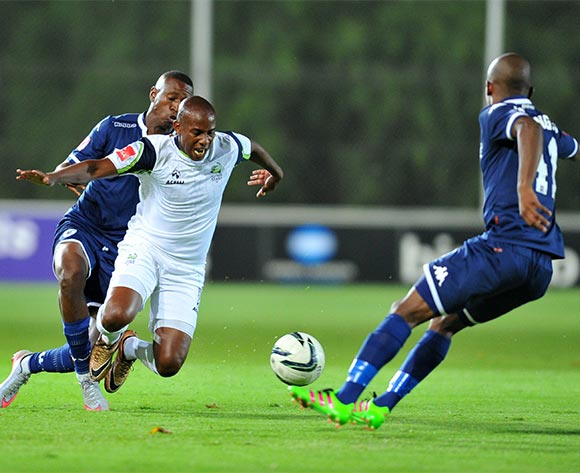 Sibusiso Msomi of Platinum Stars challenged by Siyabonga Nhlapho of Bidvest Wits during the Absa Premiership match between Bidvest Wits and Platinum Stars at the Bidvest Stadium in Johannesburg, South Africa on February 03, 2016 ©Samuel Shivambu/BackpagePix