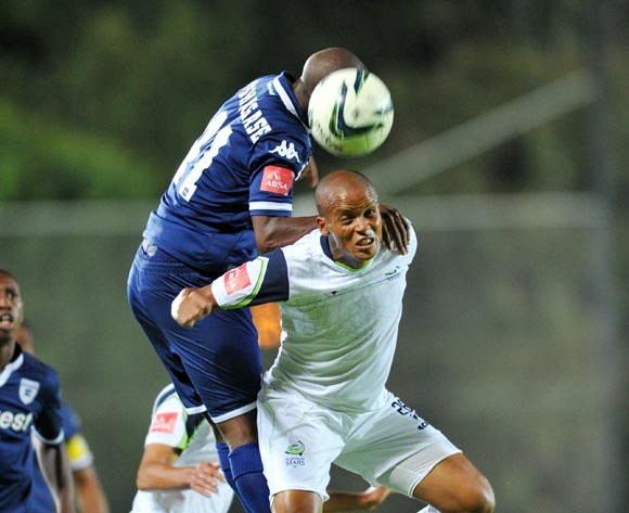 Solomon Mathe of Platinum Stars challenged by Phumlani Ntshangase of Bidvest Wits during the Absa Premiership match between Bidvest Wits and Platinum Stars at the Bidvest Stadium in Johannesburg, South Africa on February 03, 2016 ©Samuel Shivambu/BackpagePix