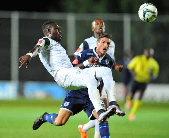 Sibusiso Zulu of Platinum Stars challenged by James Keene of Bidvest Wits during the Absa Premiership match between Bidvest Wits and Platinum Stars at the Bidvest Stadium in Johannesburg, South Africa on February 03, 2016 ©Samuel Shivambu/BackpagePix