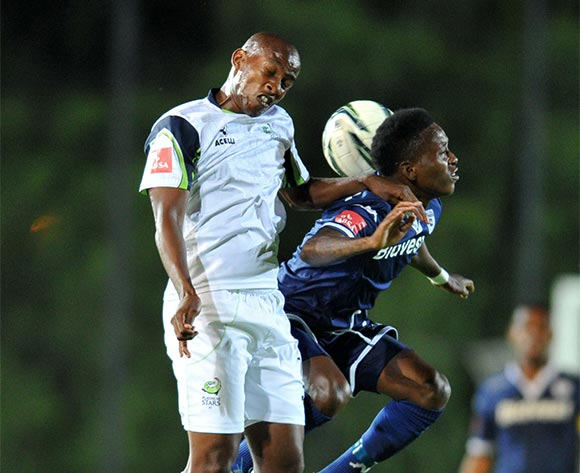 Elias Pelembe of Bidvest Wits challenged by Sibusis Msomi of Platinum Stars during the Absa Premiership match between Bidvest Wits and Platinum Stars at the Bidvest Stadium in Johannesburg, South Africa on February 03, 2016 ©Samuel Shivambu/BackpagePix