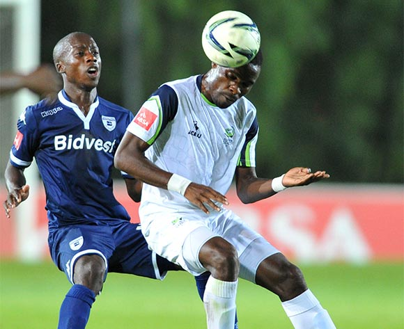 Robert Ngambi of Platinum Stars challenged by Ben Motshwari of Bidvest Wits during the Absa Premiership match between Bidvest Wits and Platinum Stars at the Bidvest Stadium in Johannesburg, South Africa on February 03, 2016 ©Samuel Shivambu/BackpagePix
