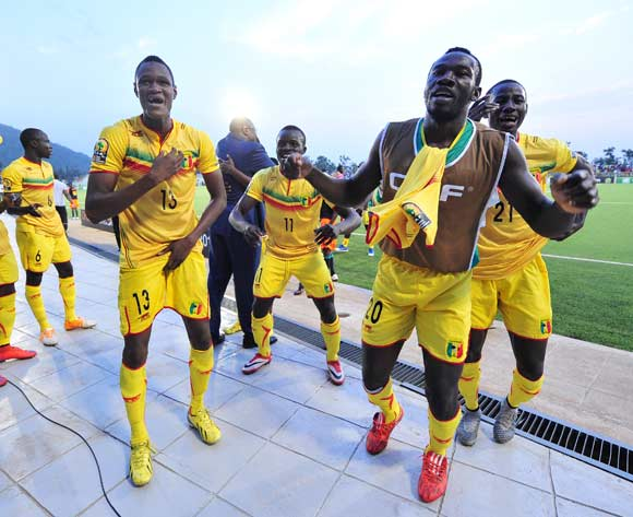 Mali players celebrate their win after the 2016 CHAN Rwanda semifinal game between Mali and Ivory Coast at Stade de Kigali, Kigali, Rwanda on 4 February 2016 ©Ryan Wilkisky/BackpagePix