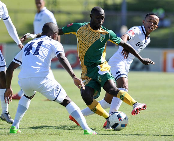 Deon Hotto of Golden Arrows challenged by Koeikantse Abednego Mosiatlhaga of Bidvest Wits during the Absa Premiership 2015/16 match between Golden Arrows and Bidvest Wits in Chatsworth Stadium Durban, Kwa-Zulu Natal on 06 February 2016 ©Muzi Ntombela/BackpagePix