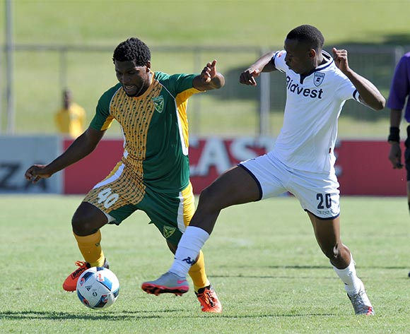 Mabhudi Khenyeza of Golden Arrows challenged by Siyabonga Nhlapo of Bidvest Wits during the Absa Premiership 2015/16 match between Golden Arrows and Bidvest Wits in Chatsworth Stadium Durban, Kwa-Zulu Natal on 06 February 2016 ©Muzi Ntombela/BackpagePix