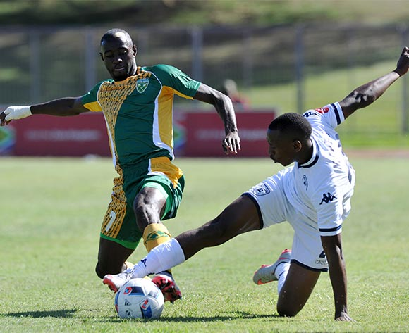 Deon Hotto of Golden Arrows battles with Siyabonga Nhlapo of Bidvest Wits during the Absa Premiership 2015/16 match between Golden Arrows and Bidvest Wits in Chatsworth Stadium Durban, Kwa-Zulu Natal on 06 February 2016 ©Muzi Ntombela/BackpagePix