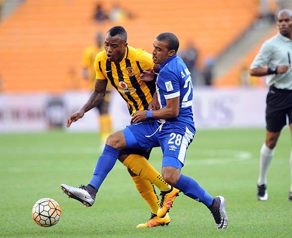Tsepo Masilela of Kaizer Chiefs challenges Deolin Mekoa of Maritzburg United during the Absa Premiership match between Kaizer Chiefs and Maritzbueg United  on 06 February 2016 at FNB Stadium Pic Sydney Mahlangu/ BackpagePix