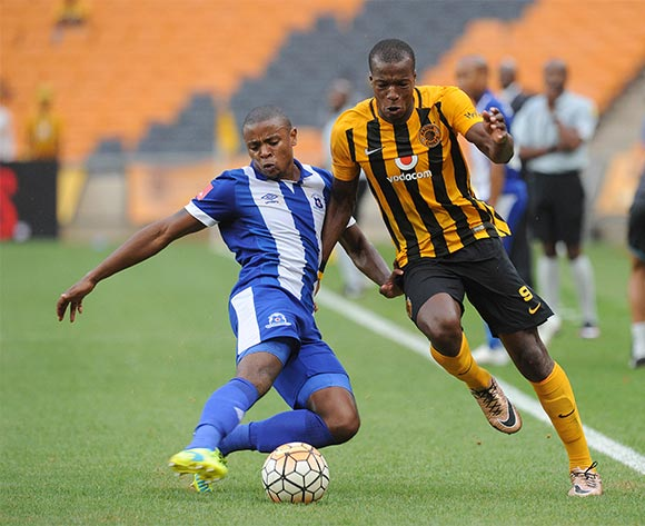 Camaldine Abraw of Kaizer Chiefs challenges Tamsanqa Teyise of Maritzburg United during the Absa Premiership match between Kaizer Chiefs and Maritzbueg United  on 06 February 2016 at FNB Stadium Pic Sydney Mahlangu/ BackpagePix