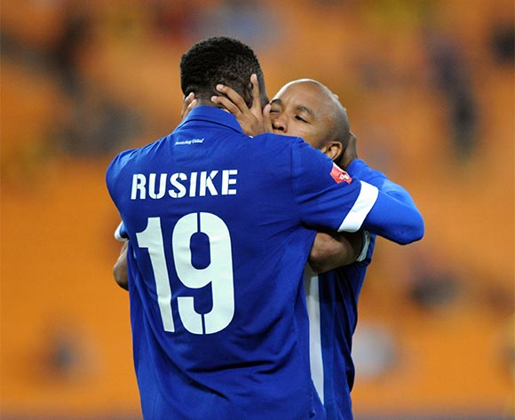 Evans Rusike of Maritzburg United celebrates a goal with teammates  during the Absa Premiership match between Kaizer Chiefs and Maritzbueg United  on 06 February 2016 at FNB Stadium Pic Sydney Mahlangu/ BackpagePix
