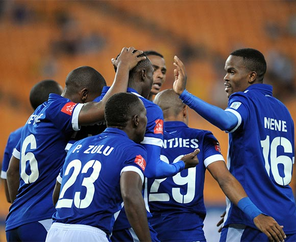 Evans Rusike of Maritzburg United celebrates a goal with teammates