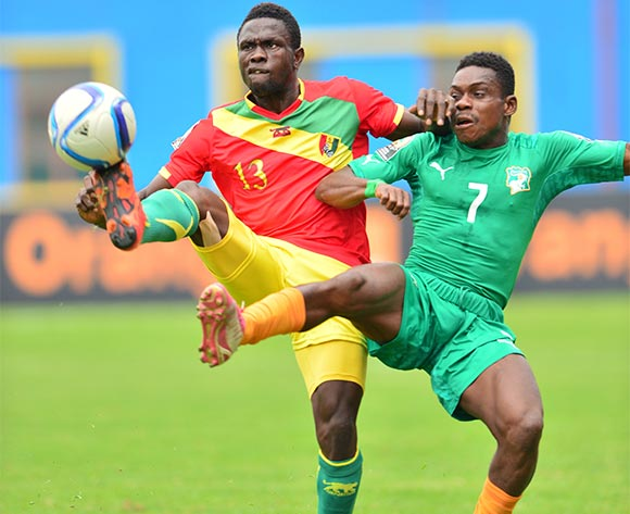 Alseny Camara of Guinea challenged by Soualio Dabila Ouattara of Ivory Coast during the 2016 CHAN Rwanda 3rd Place Playoff game between Guinea and Ivory Coast at the Amahoro Stadium in Kigali, Rwanda on 07 February 2016 ©Gavin Barker/BackpagePix