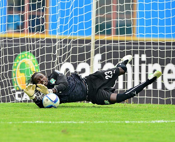 Abdoul Karim Cisse of Ivory Coast saves penalty kick from Ibrahima Sory Sankhon  of Guinea during the 2016 CHAN Rwanda 3rd Place Playoff game between Guinea and Ivory Coast at the Amahoro Stadium in Kigali, Rwanda on 07 February 2016 ©Gavin Barker/BackpagePix