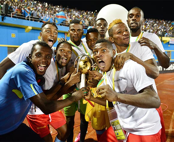 DR Congo players celebrates victory with trophy during the 2016 CHAN Rwanda Final between DR Congo and Mali at the Amahoro Stadium in Kigali, Rwanda on 07 February 2016 ©Gavin Barker/BackpagePix