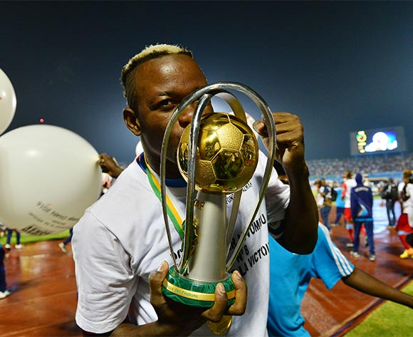 Joel Kimwaki of DR Congo celebrates victory kisses trophy during the 2016 CHAN Rwanda Final between DR Congo and Mali at the Amahoro Stadium in Kigali, Rwanda on 07 February 2016 ©Gavin Barker/BackpagePix