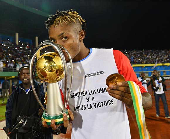 Jonathan Bolingi of DR Congo  celebrates victory kisses trophy during the 2016 CHAN Rwanda Final between DR Congo and Mali at the Amahoro Stadium in Kigali, Rwanda on 07 February 2016 ©Gavin Barker/BackpagePix