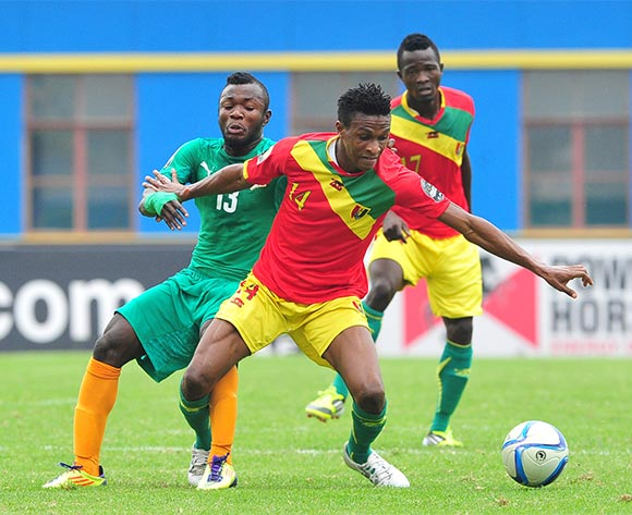 Jean Mouste of Guinea is challenged by Yao Serge Nguessan of Ivory Coast during the 2016 CHAN Rwanda 3rd Place Playoff game between Guinea and Ivory Coast at the Amahoro Stadium in Kigali, Rwanda on 07 February 2016 ©Ryan Wilkisky/BackpagePix