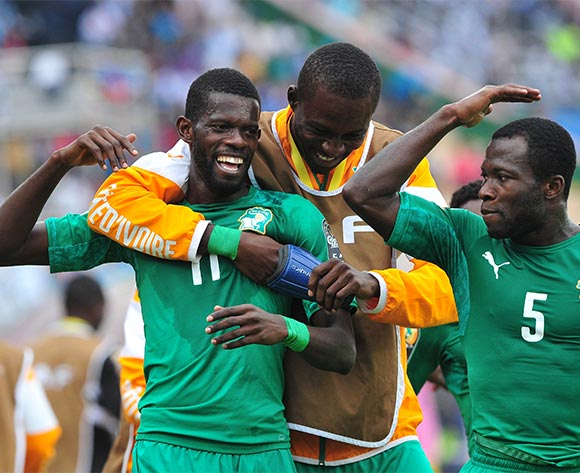 Davy Koffi Boua and Beaudelaire Aka Essis of Ivory Coast celebrate the opening goal of the game during the 2016 CHAN Rwanda 3rd Place Playoff game between Guinea and Ivory Coast at the Amahoro Stadium in Kigali, Rwanda on 07 February 2016 ©Ryan Wilkisky/BackpagePix