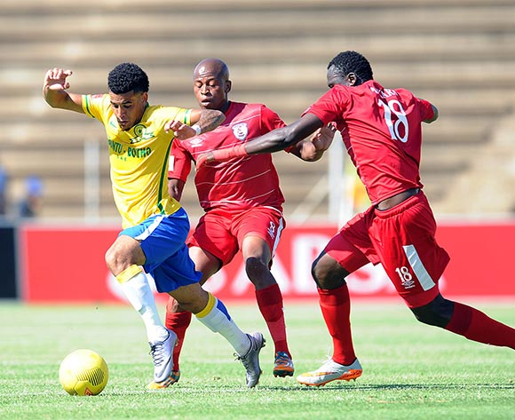 Keagan Dolly of Mamelodi Sundowns is challenged by Danny Venter  of Free State Stars during the Absa Premiership match between Free State Stars and Mamelodi Sundowns  on 07 February 2016 at James Motlatsi  Stadium Pic Sydney Mahlangu/ BackpagePix