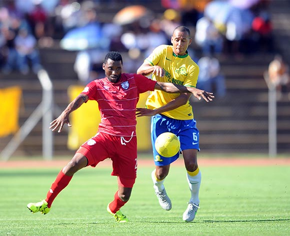Wayne Arendse of Mamelodi Sundowns is challenged by Sthembiso Ngcobo of Free State Stars during the Absa Premiership match between Free State Stars and Mamelodi Sundowns  on 07 February 2016 at James Motlatsi  Stadium Pic Sydney Mahlangu/ BackpagePix