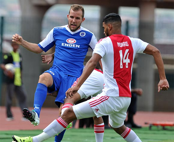Jeremy Brockie of Supersport United challenged by Tashreeg Morris of Ajax Cape Town during the Absa Premiership match between Supersport United and Ajax Cape Tow at the Lucas Moripe Stadium in Pretoria, South Africa on February 07, 2016 ©Samuel Shivambu/BackpagePix