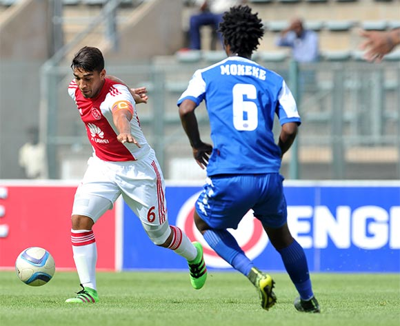 Travis Graham of Ajax Cape Town challenged by Thabo Mokeke of Supersport United during the Absa Premiership match between Supersport United and Ajax Cape Tow at the Lucas Moripe Stadium in Pretoria, South Africa on February 07, 2016 ©Samuel Shivambu/BackpagePix