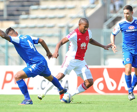 Prince Nxumalo of Ajax Cape Town challenged by Clayton Daniels and Dean Furman of Supersport United during the Absa Premiership match between Supersport United and Ajax Cape Tow at the Lucas Moripe Stadium in Pretoria, South Africa on February 07, 2016 ©Samuel Shivambu/BackpagePix
