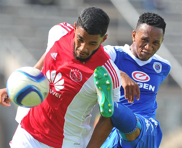 Tashreeg Morris of Ajax Cape Town challenged by Luvolwethu Mpeta during the Absa Premiership match between Supersport United and Ajax Cape Tow at the Lucas Moripe Stadium in Pretoria, South Africa on February 07, 2016 ©Samuel Shivambu/BackpagePix