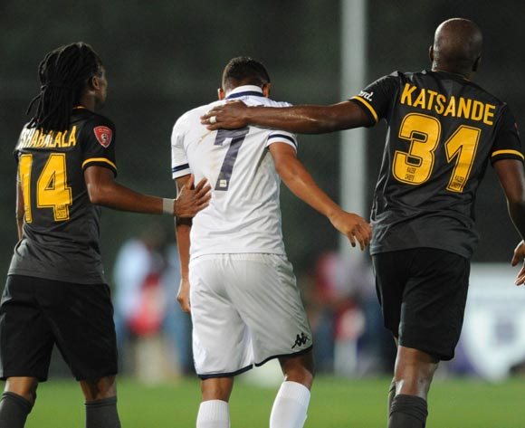Siphiwe Tshabalala of Kaizer Chiefs (14) and Willard Katsande of Kaizer Chiefs with a funny moment with Daine Klate of Bidvest Wits during the Absa Premiership match between Bidvest Wits and Kaizer Chiefs on 09 February 2016 at Bidvest Stadium Pic Sydney Mahlangu/ BackpagePix