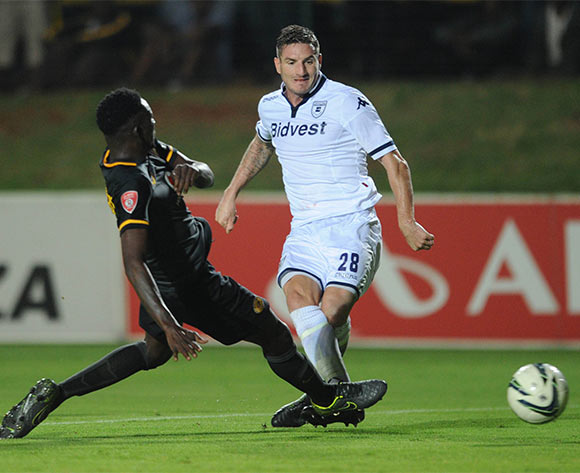 James Keene of Bidvest Wits is tackled by Erick Mathoho of Kaizer Chiefs   during the Absa Premiership match between Bidvest Wits and Kaizer Chiefs on 09 February 2016 at Bidvest Stadium Pic Sydney Mahlangu/ BackpagePix