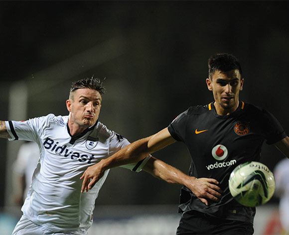 James Keene of Bidvest Wits is challenged by Daniel Cardoso of Kaizer Chiefs during the Absa Premiership match between Bidvest Wits and Kaizer Chiefs on 09 February 2016 at Bidvest Stadium Pic Sydney Mahlangu/ BackpagePix