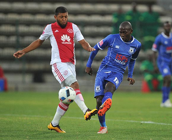 Riyaad Norodien of Ajax Cape Town battles for the ball with Aubrey Modiba of Black Aces during the Absa Premiership 2015/16 football match between Ajax Cape Town and Black Aces at Athlone Stadium, Cape Town on 10 February 2016 ©Chris Ricco/BackpagePix