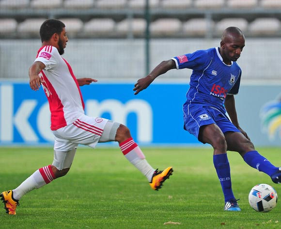 Lehlohonolo Nonyane of Black Aces evades challenge from Riyaad Norodien of Ajax Cape Town during the Absa Premiership 2015/16 football match between Ajax Cape Town and Black Aces at Athlone Stadium, Cape Town on 10 February 2016 ©Chris Ricco/BackpagePix