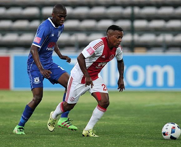 Erwin Isaacs of Ajax Cape Town gets away from Mpho Matsi of Black Aces during the Absa Premiership 2015/16 football match between Ajax Cape Town and Black Aces at Athlone Stadium, Cape Town on 10 February 2016 ©Chris Ricco/BackpagePix