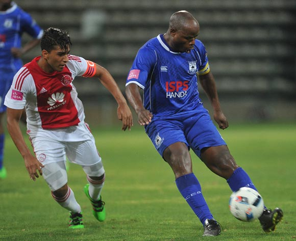 Collins Mbesuma of Black Aces evades challenge from Travis Graham of Ajax Cape Town during the Absa Premiership 2015/16 football match between Ajax Cape Town and Black Aces at Athlone Stadium, Cape Town on 10 February 2016 ©Chris Ricco/BackpagePix