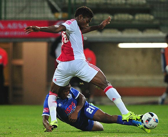 Lawrence Lartey of Ajax Cape Town tackled by Lebogang Manyama of Black Aces during the Absa Premiership 2015/16 football match between Ajax Cape Town and Black Aces at Athlone Stadium, Cape Town on 10 February 2016 ©Chris Ricco/BackpagePix