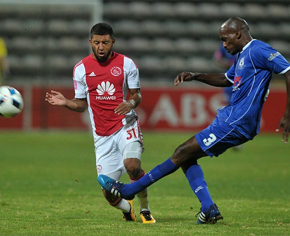 Lehlohonolo Nonyane of Black Aces clears from Riyaad Norodien of Ajax Cape Town during the Absa Premiership 2015/16 football match between Ajax Cape Town and Black Aces at Athlone Stadium, Cape Town on 10 February 2016 ©Chris Ricco/BackpagePix