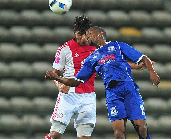 Aubrey Ngoma of Black Aces battles for the ball with Travis Graham of Ajax Cape Town during the Absa Premiership 2015/16 football match between Ajax Cape Town and Black Aces at Athlone Stadium, Cape Town on 10 February 2016 ©Chris Ricco/BackpagePix