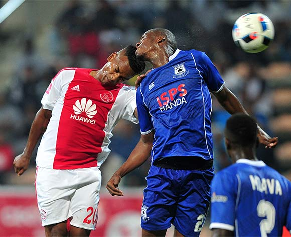 Mpho Matsi of Black Aces battles for the ball with Erwin Isaacs of Ajax Cape Town during the Absa Premiership 2015/16 football match between Ajax Cape Town and Black Aces at Athlone Stadium, Cape Town on 10 February 2016 ©Chris Ricco/BackpagePix