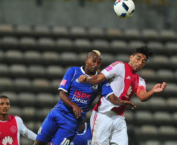 Travis Graham of Ajax Cape Town battles for the ball with Bongolethu Jayiya of Black Aces during the Absa Premiership 2015/16 football match between Ajax Cape Town and Black Aces at Athlone Stadium, Cape Town on 10 February 2016 ©Chris Ricco/BackpagePix