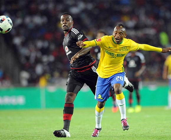 Ntsikelelo Nyauza of Orlando Pirates challenges Khama Billiat of Mamelodi Sundowns during the Absa Premiership match between Orlando Pirates and Mamelodi Sundowns  on 10 February 2016 at Orlando Stadium Pic Sydney Mahlangu/ BackpagePix