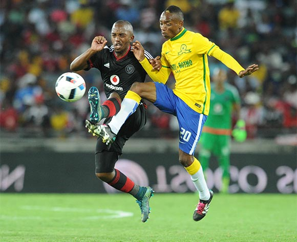 Khama Billiat of Mamelodi Sundowns challenges Patrick Phungwayo of Orlando Pirates during the Absa Premiership match between Orlando Pirates and Mamelodi Sundowns  on 10 February 2016 at Orlando Stadium Pic Sydney Mahlangu/ BackpagePix