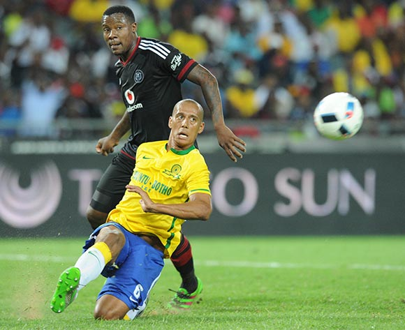 Wayne Arendse of Mamelodi Sundowns challenges Thamsanqa Gabuza of Orlando Pirates during the Absa Premiership match between Orlando Pirates and Mamelodi Sundowns  on 10 February 2016 at Orlando Stadium Pic Sydney Mahlangu/ BackpagePix