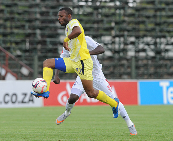 Brice Aka of Jomo Cosmos is challenged by Paulus Masehe of Free State Stars  during the Absa Premiership match between Jomo Cosmos and Free State Stars on 13 February 2016 at Olen Park Pic Sydney Mahlangu/ BackpagePix